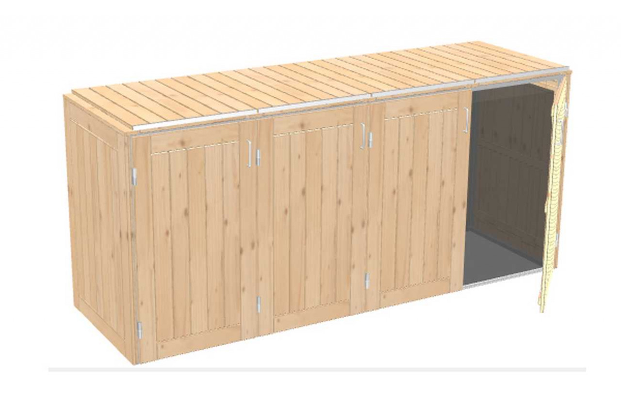 Mülltonnenbox Binto Nadeholz mit Klappdeckel