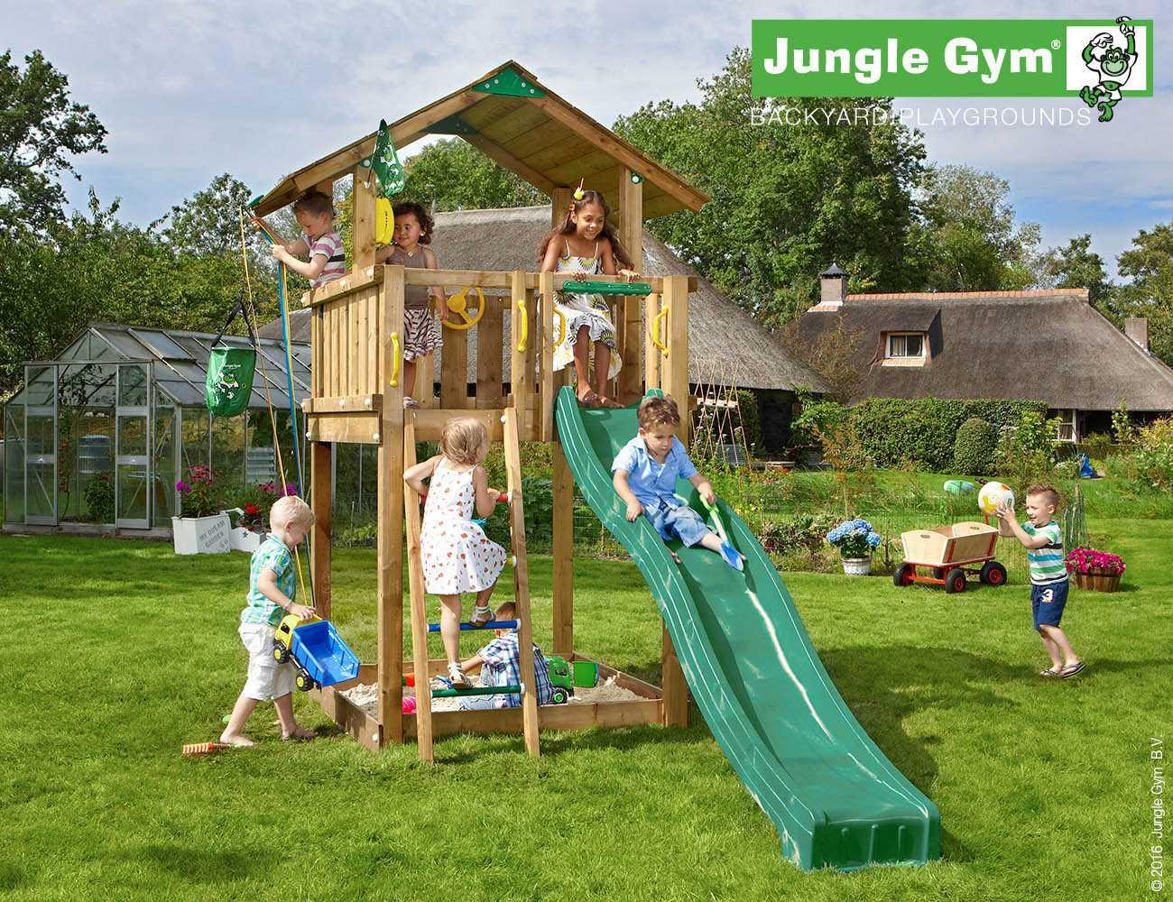 jungle gym kinder spielturm chalet mit rutsche holz heider. Black Bedroom Furniture Sets. Home Design Ideas