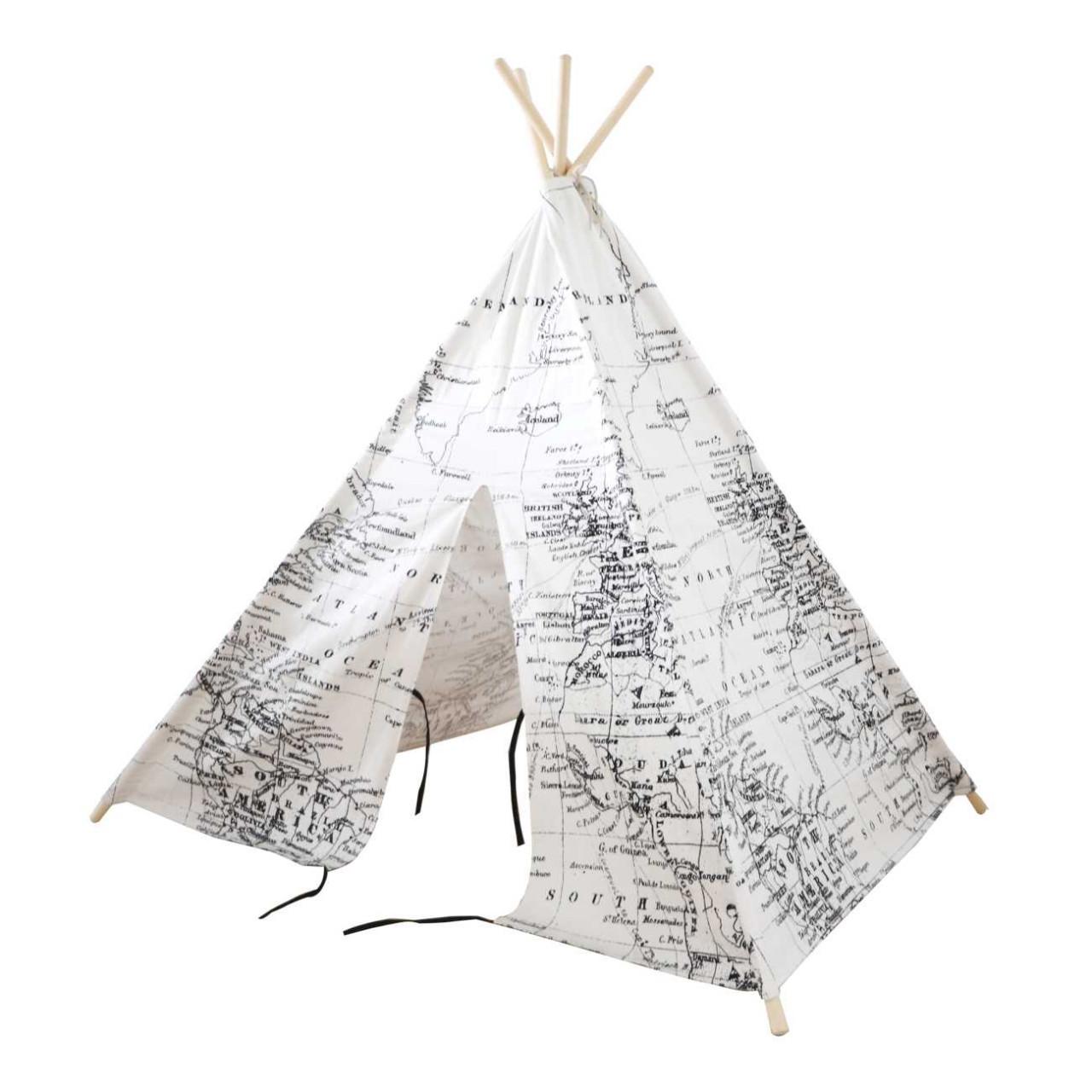 Kinder Spielzelt Tipi Zelt Weltkarte, Teeepee, Indianerzelt