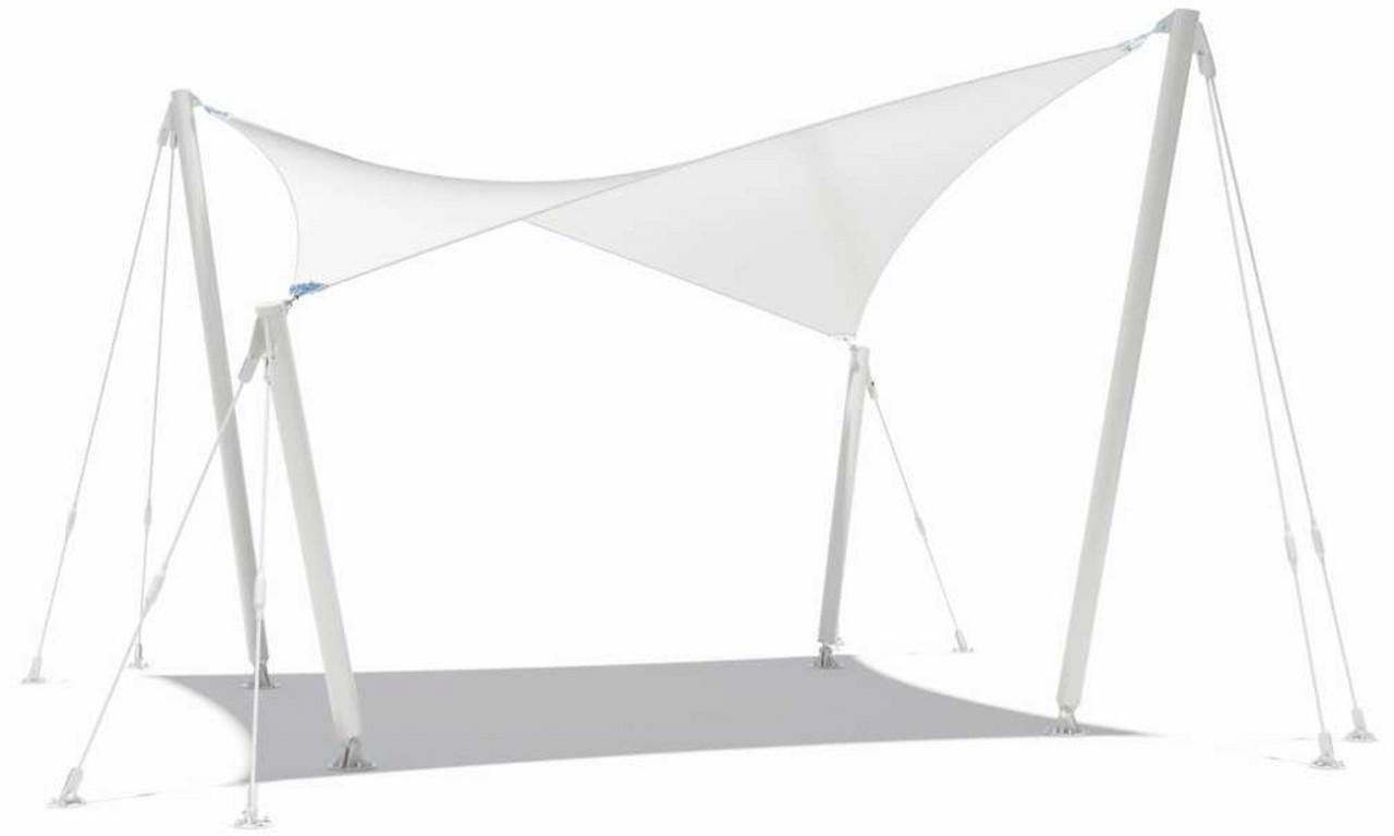 freistehendes Sonnensegel Typ 2 - 5 x 5 m, komplett mit Stahlstützen und Abspannung