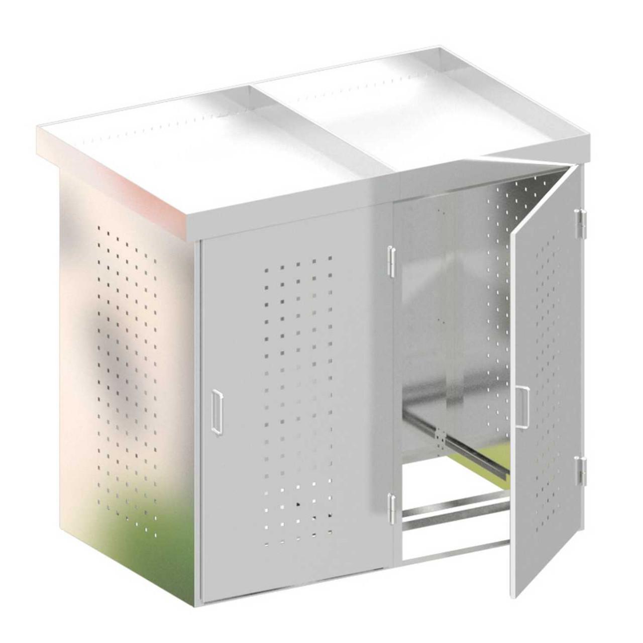Mülltonnenbox Binto Edelstahl 2er Pflanzschale