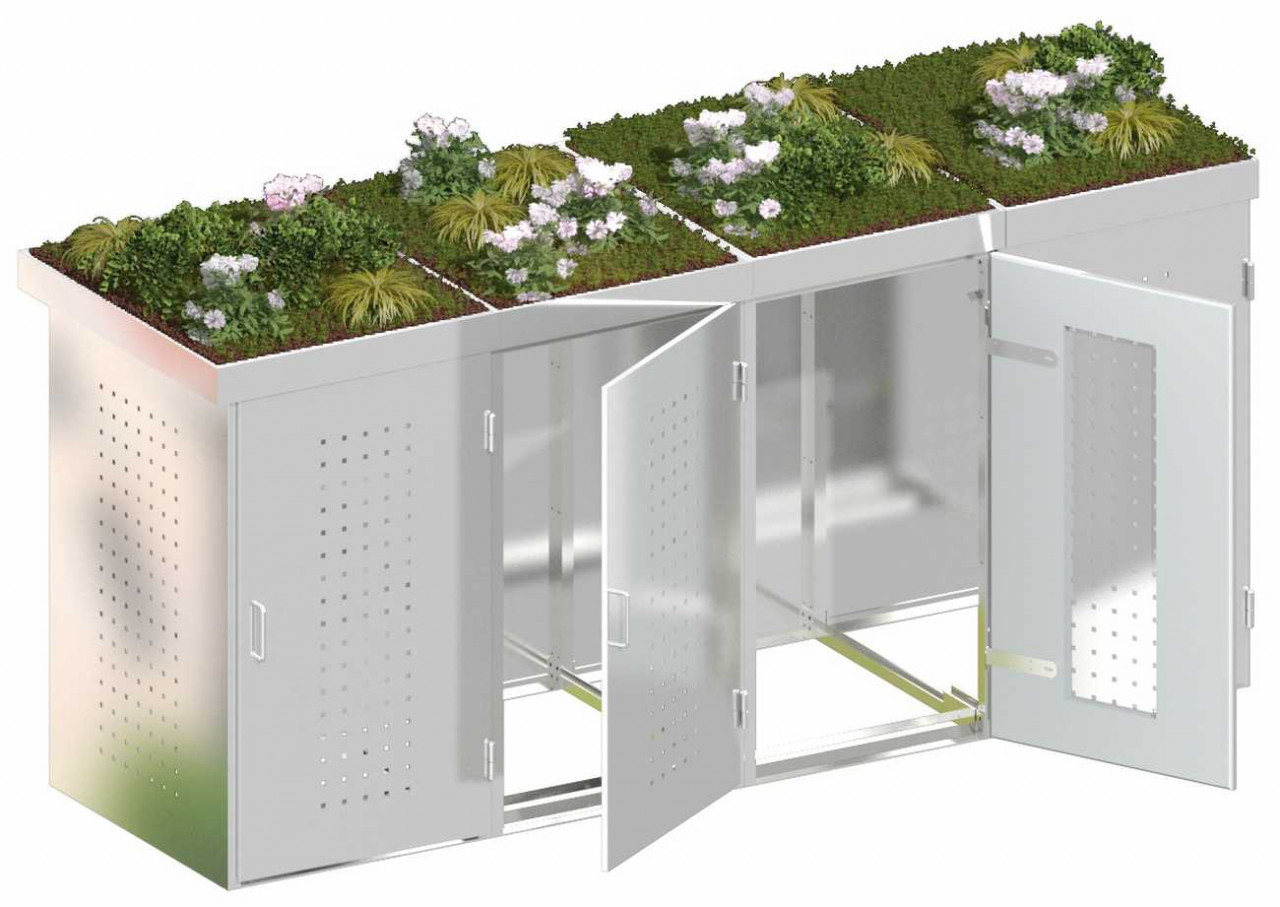 Mülltonnenbox Edelstahl mit Edelstahl-Pflanzschalen