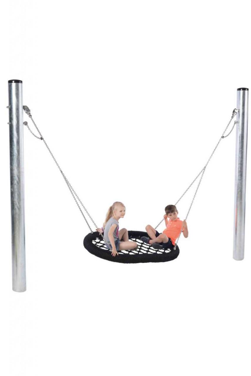 Nestschaukel Spielplatz, Oval Pro mit Stahlpfosten, DIN EN 1176