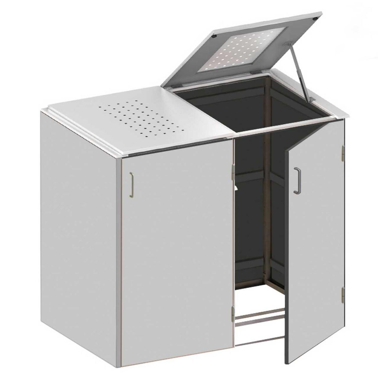 Binto Müllbox HPL Grau mit Edelstahl-Klappdeckel