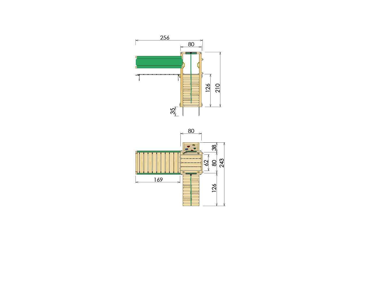 wooden-climbing-frames-bridge-module-dimensions
