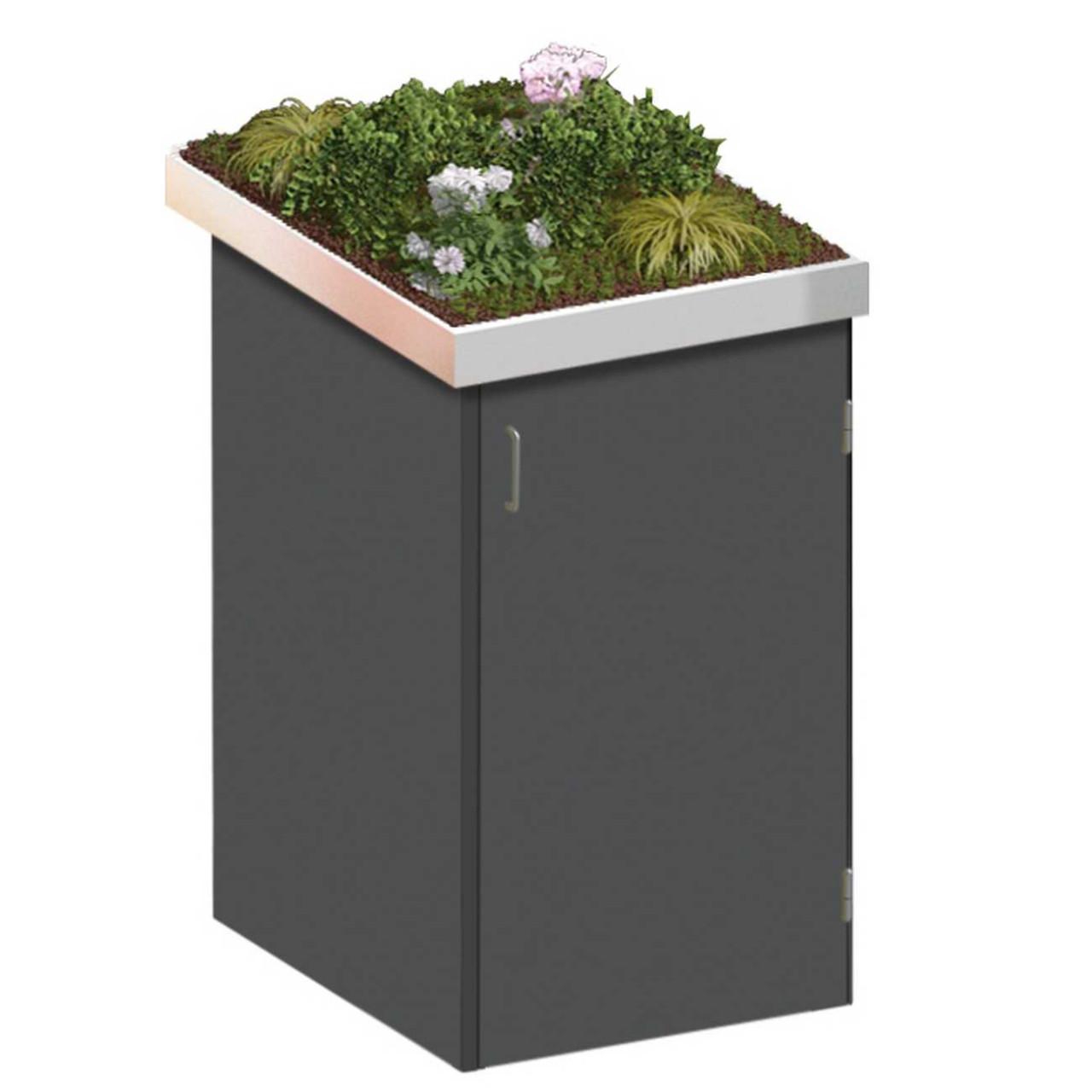 Binto Mülltonnenbox HPL Schiefer mit Edelstahl Pflanzschale