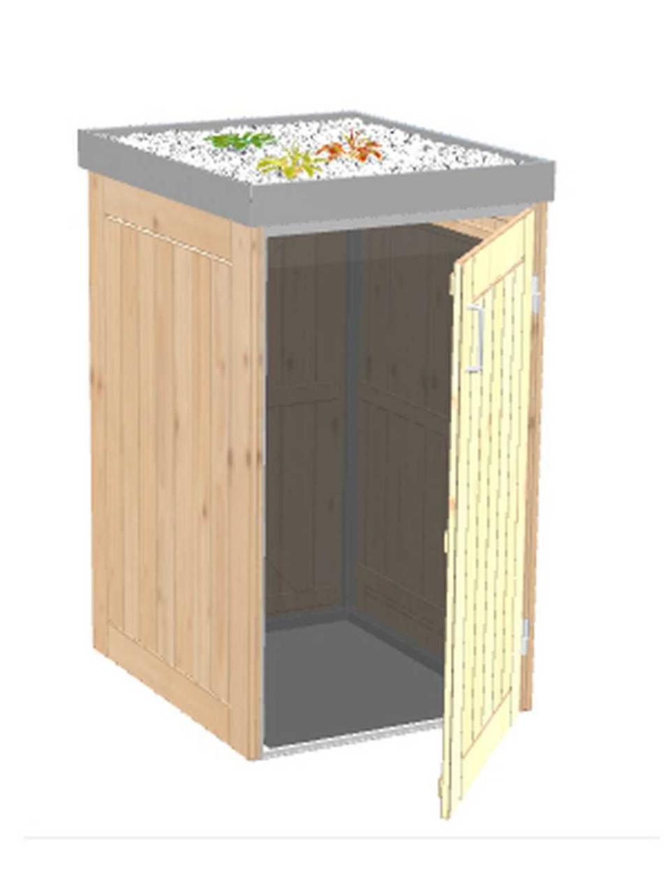 Mülltonnenbox Binto 1-er Nadelholz mit Pflanzschale