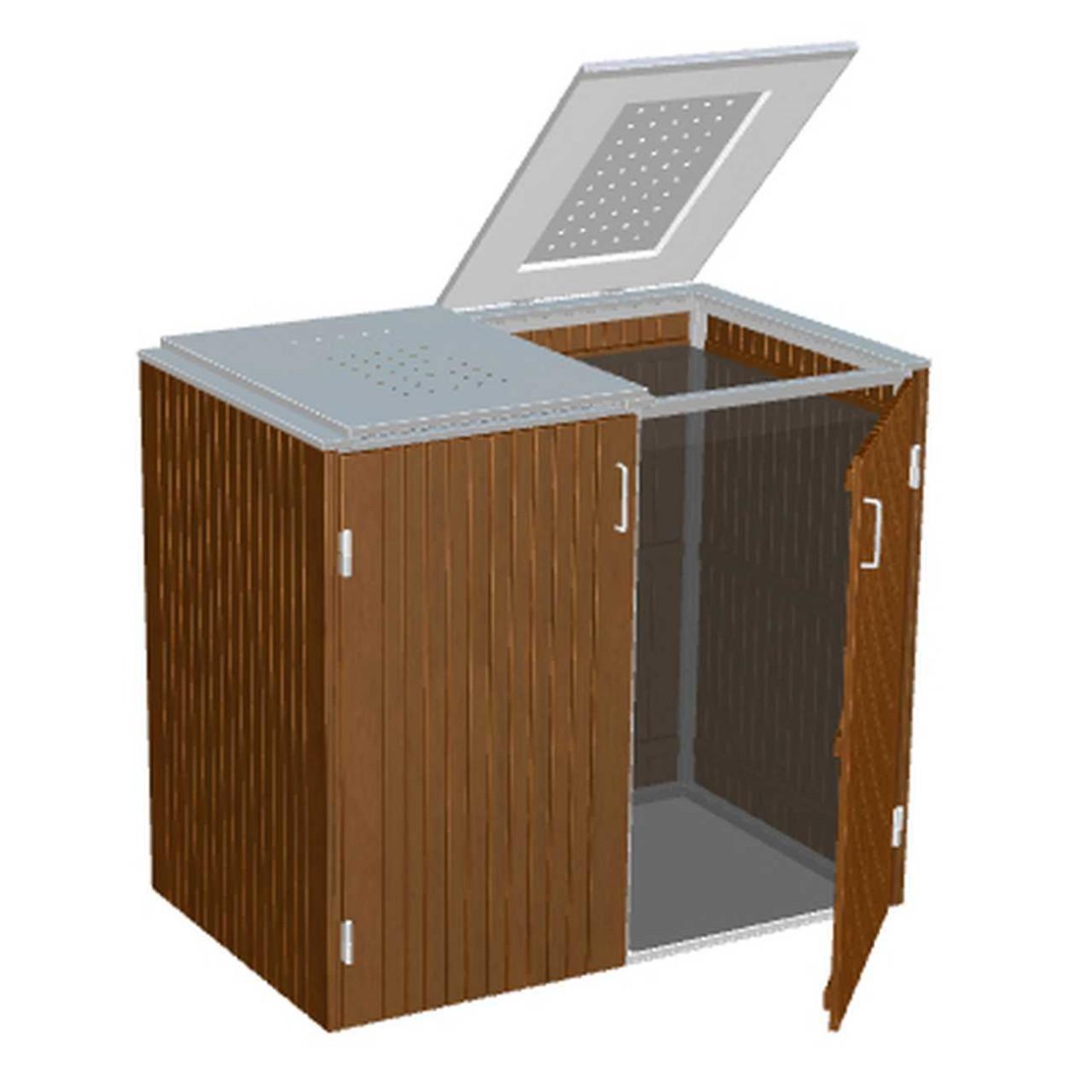 Binto Müllbox Hartholz-Verkleidung und Edelstahl-Klappdeckel