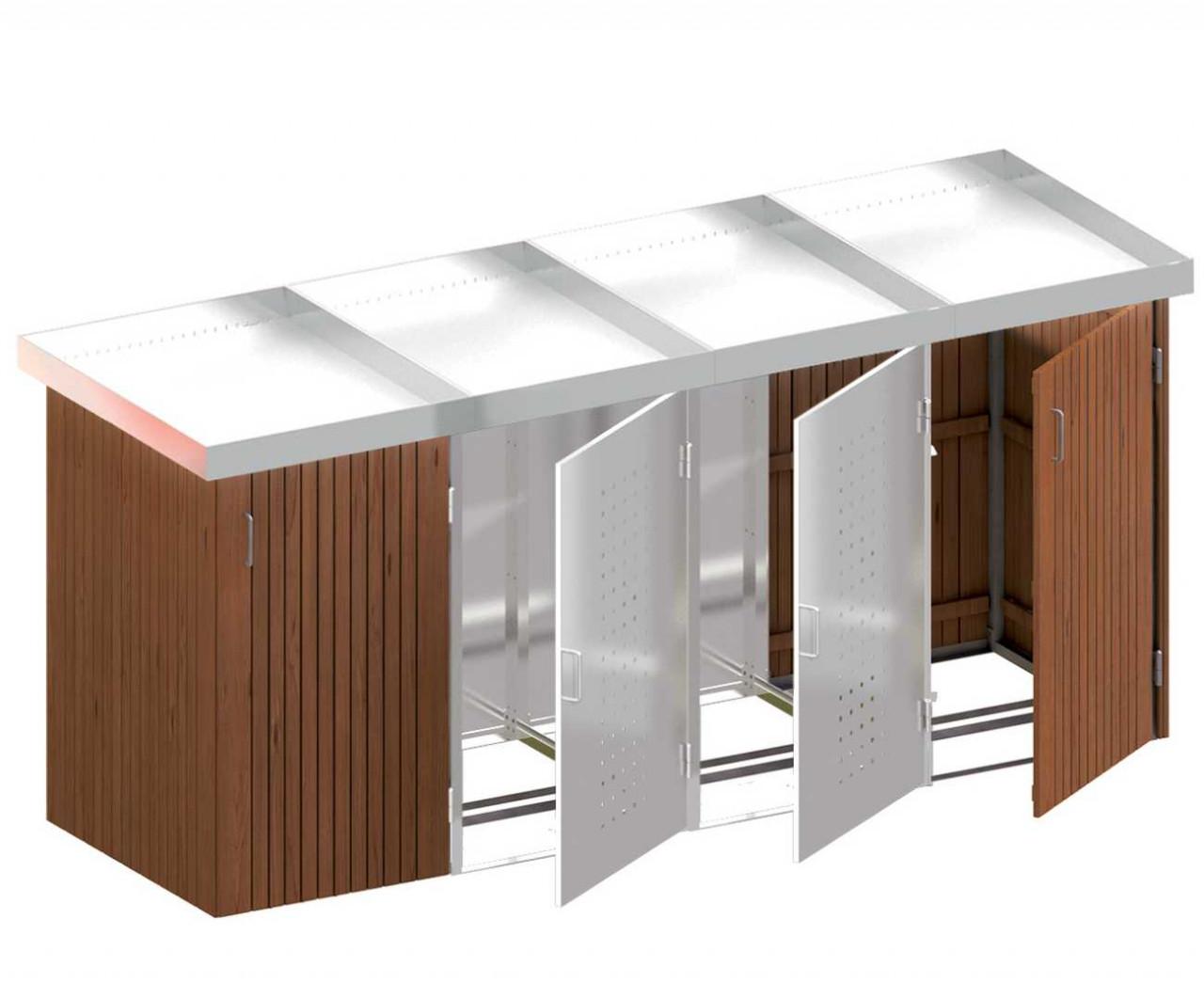 Binto Mülltonnenbox mit Hartholz-/Edelstahlverkleidung und Edelstahl Pflanzschalen