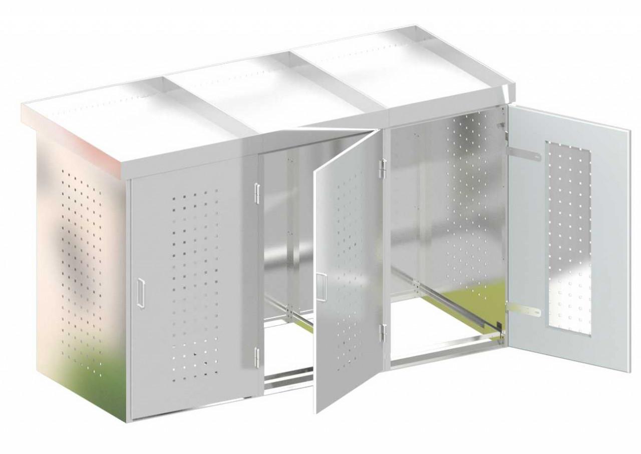 Mülltonnenbox Edelstahl mit Edelstahl Pflanzschale
