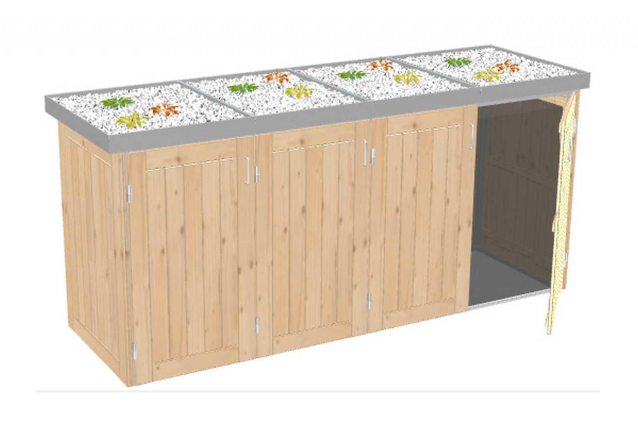 Mülltonnenbox Binto Nadelholz mit Edelstahl-Pflanzschale