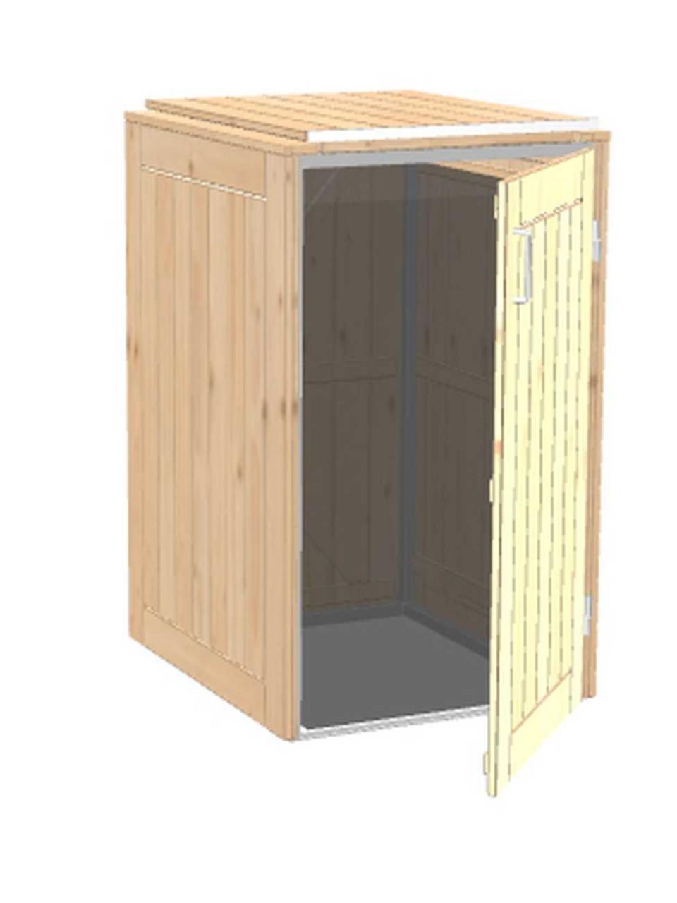Mülltonnenbox Binto 1-er Nadelholz mit Klappdeckel