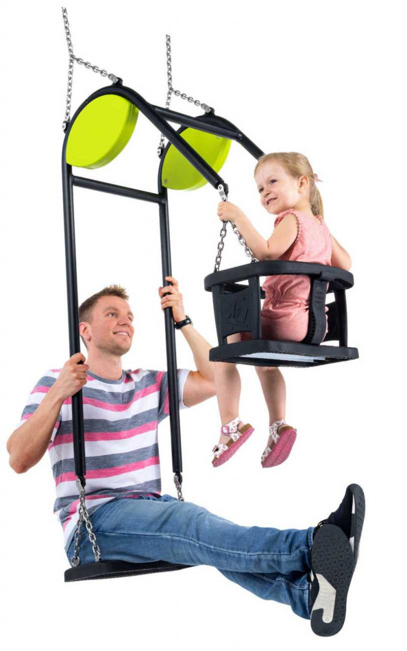 Familienschaukel Chaxi, Erwachsenenschaukel mit Babyschaukel, Spielplatz