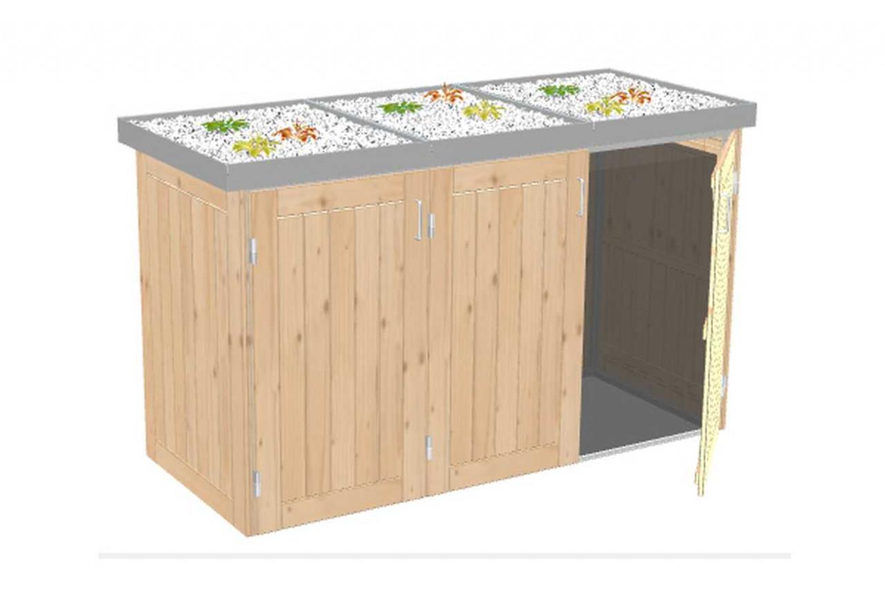 Mülltonnenbox Binto Nadelholz mit Pflanzschale