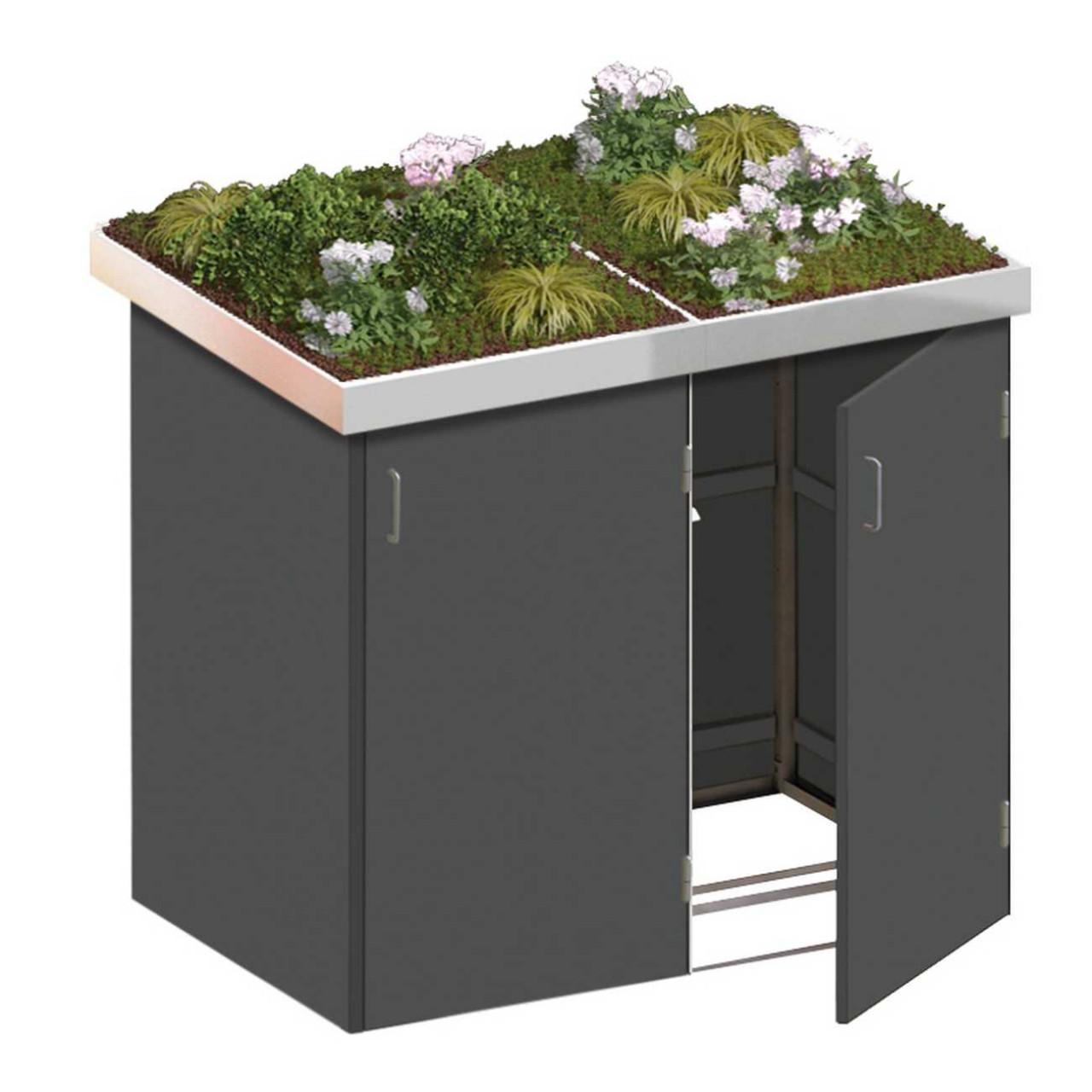 Binto Mülltonnenbox HPL Schiefer mit Edelstahl Pflanzschalen