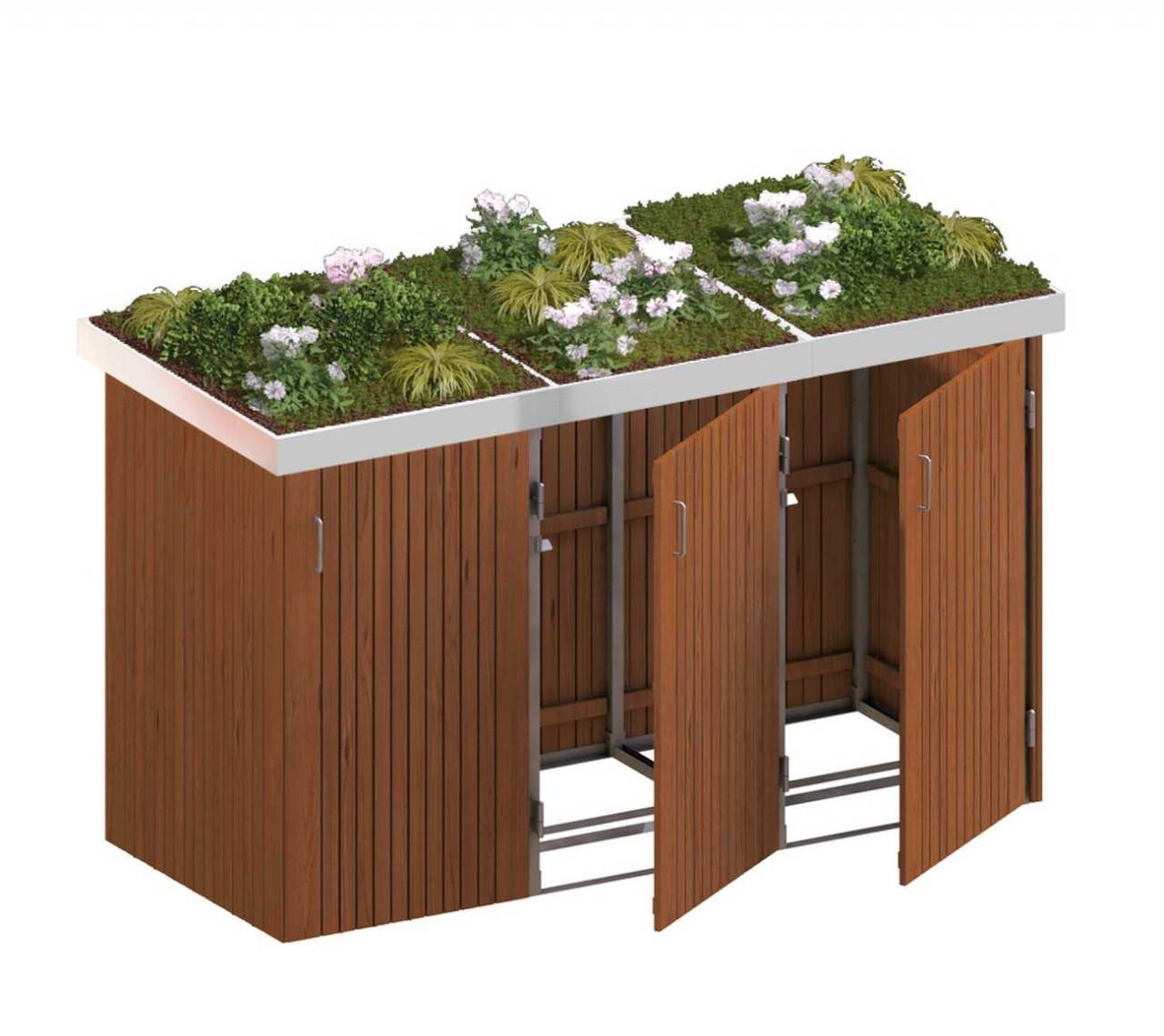 Binto Mülltonnenbox mit Hartholz-Verkleidung und Edelstahl-Pflanzschalen
