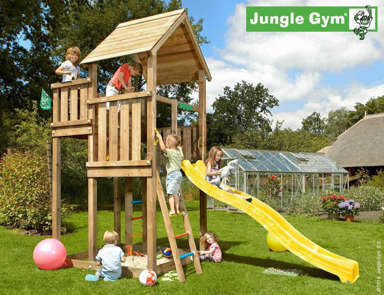 Klettergerüst Jungle : Spielturm jungle villa von gym rutsche lang gelb