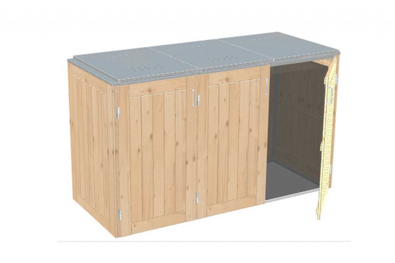 Müllbox Binto Nadelholz mit Edelstahl-Klappdeckel