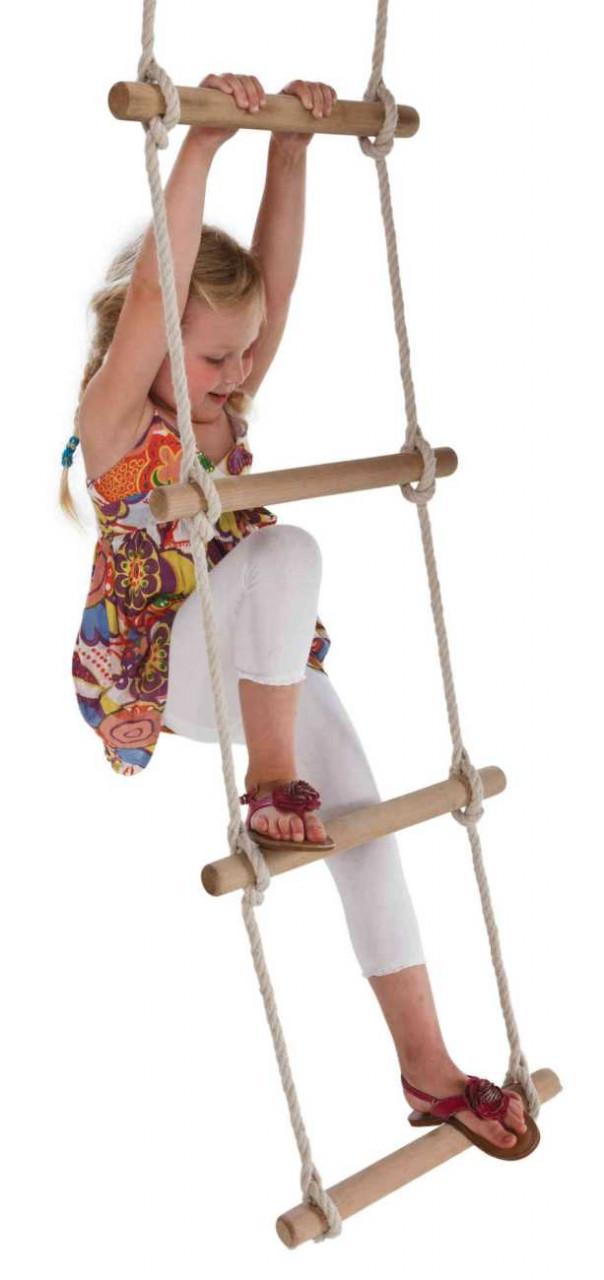 Strickleiter, 6 Sprosen aus Hartholz, für Kinder Spielturm und Schaukel
