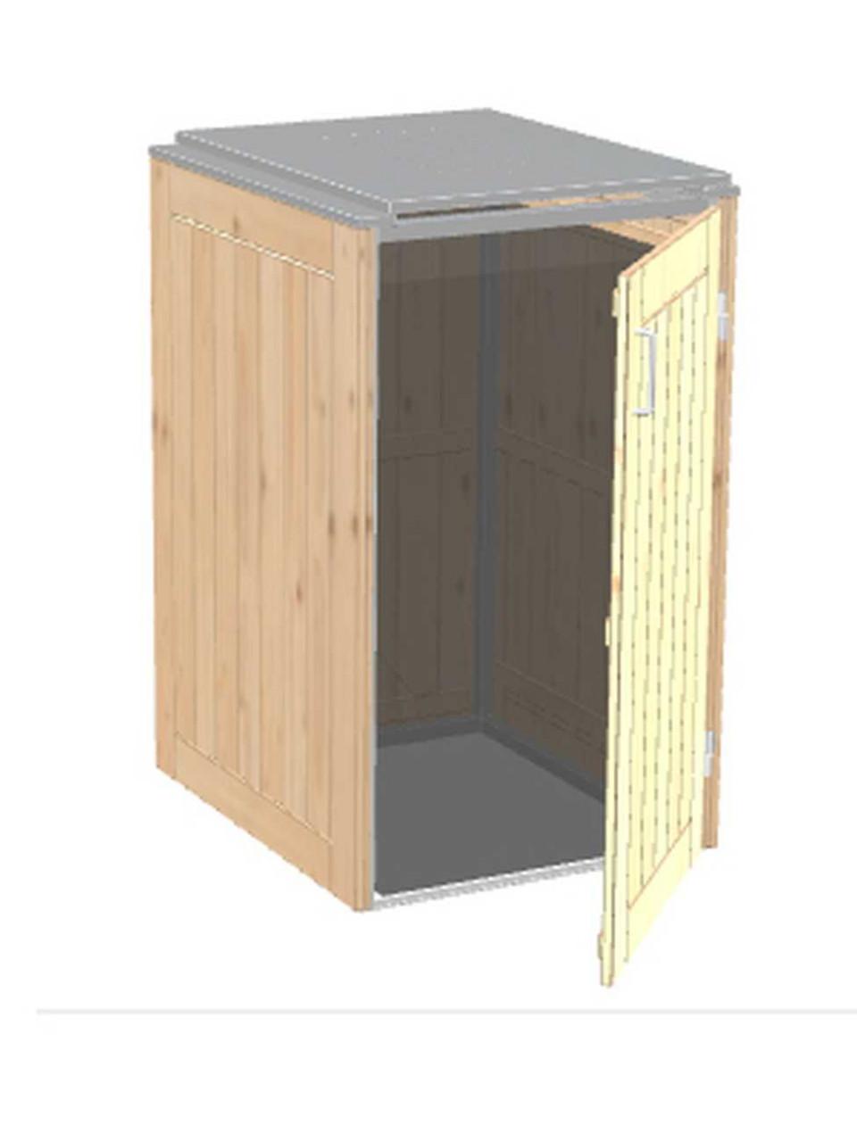 Müllbox Binto Nadelholzverkleidung mit Edelstahl-Klappdeckel