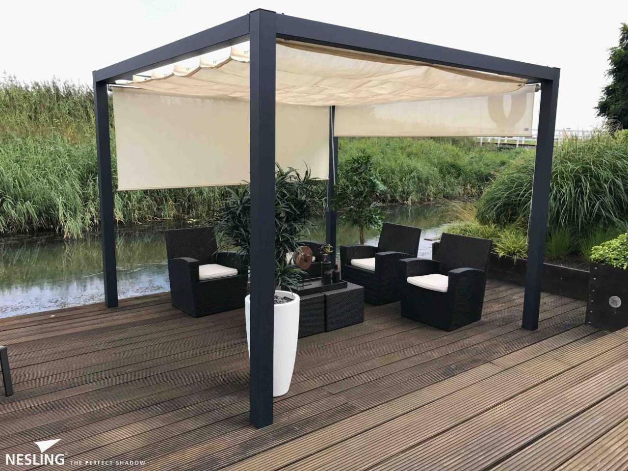 aluminium pergola 319x319 mit nesling faltsonnensegel. Black Bedroom Furniture Sets. Home Design Ideas