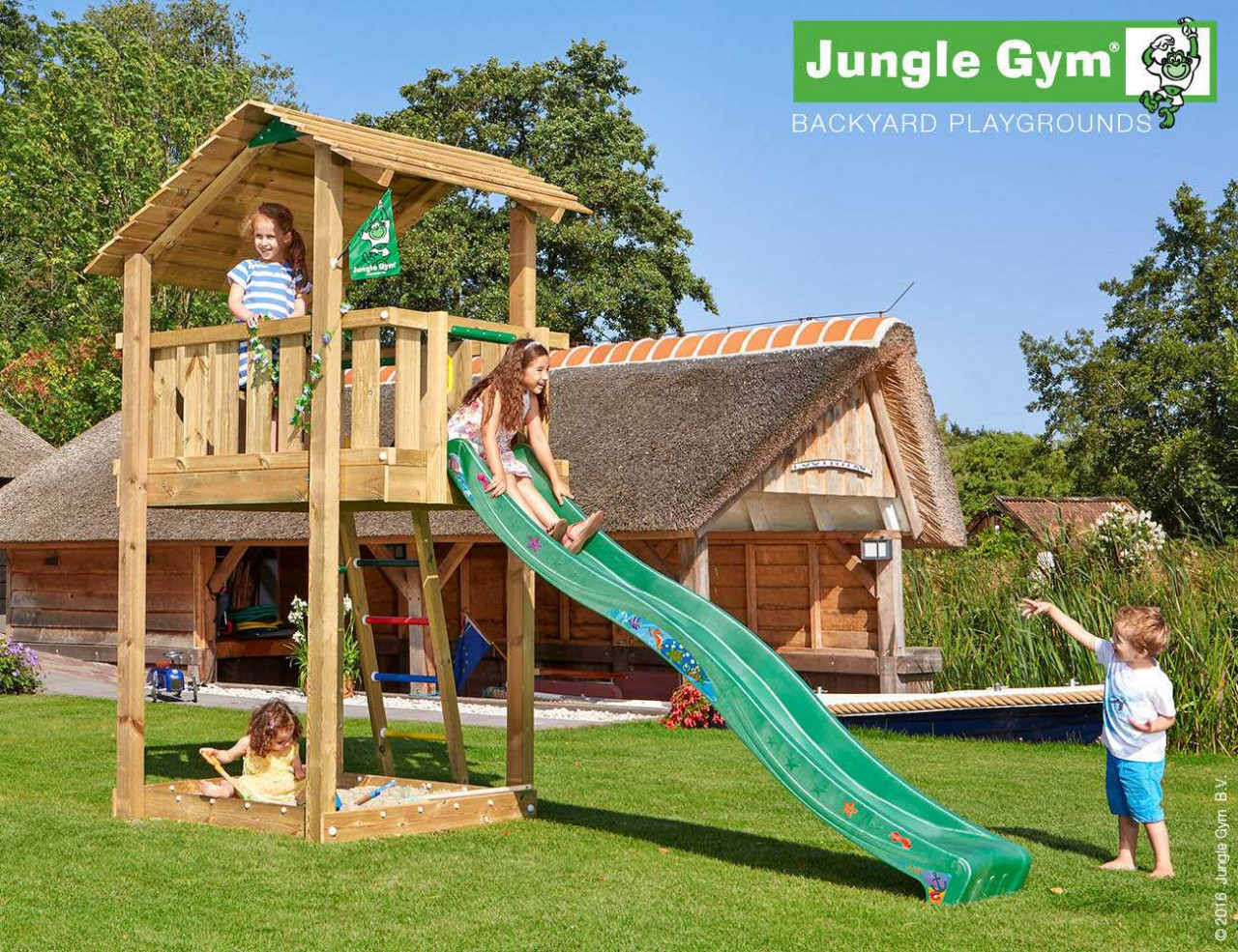 Spielturm mit Rutsche Jungle Gym Shelter in Douglasie natur