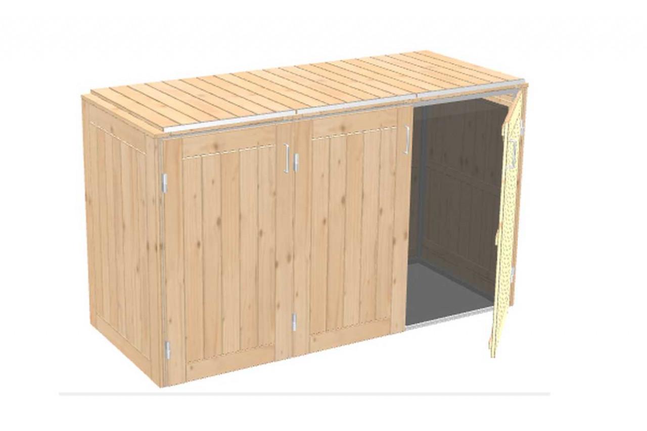 Mülltonnenbox Binto Nadelholzverkleidung mit Klappdeckel