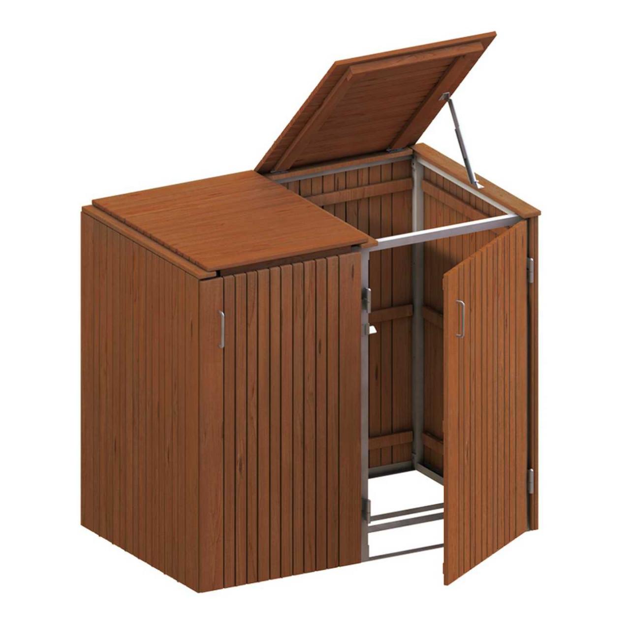 Binto Mülltonnenbox Hartholz mit Hartolz-Klappdeckel