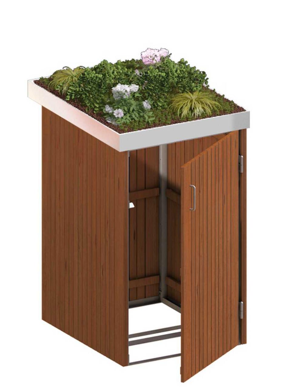 Binto Mülltonnenbox mit Hartholz-Verkleidung und Edelstahl-Pflanzschale