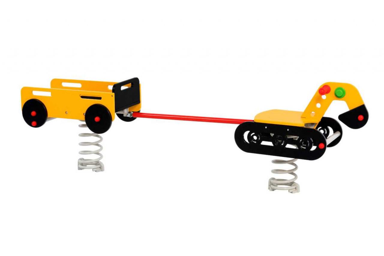 Federwippe, Federtiere Wipptiere Bulldozer mit Anhänger, Serie Baumschinen