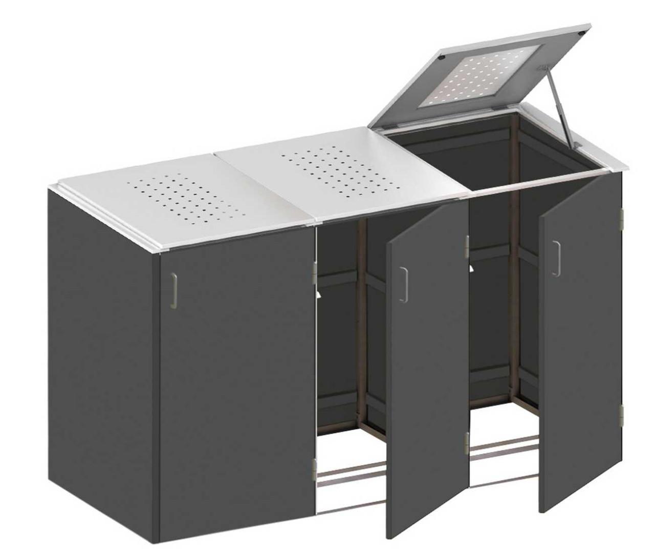 Binto Müllbox HPL Schiefer mit Edelstahl-Klappdeckel
